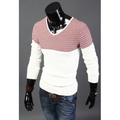 Гаджет   Stylish V-Neck Slimming Hit Color Splicing Dark Checked Design Long Sleeve Cotton Sweater For Men Sweaters & Cardigans
