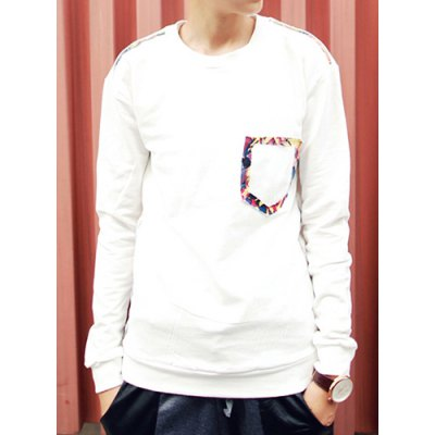 Гаджет   Casual Style Long Sleeves Slimming Round Neck Personality Fake Pocket Design Men