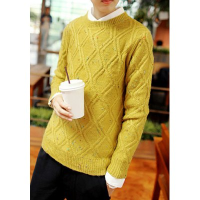 Гаджет   Casual Style Round Neck Long Sleeves Slimming Rhombus Print Colorful Polka Dot Design Men