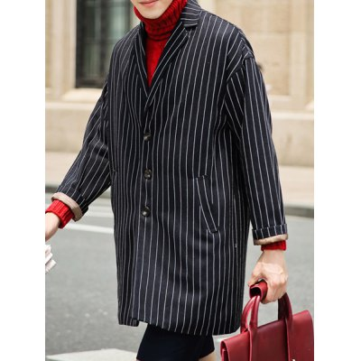 Гаджет   Simple Style Loose-Fitting Long Sleeves Lapel Stripes Print Men