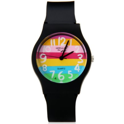 Ladies Quartz Watch Colorful Stripes Round Dial Plastic WristbandWomens Watches<br>Ladies Quartz Watch Colorful Stripes Round Dial Plastic Wristband<br><br>Watches categories: Female table<br>Available color: Blue, Transparent color, Black, Pink<br>Style : Fashion&amp;Casual<br>Movement type: Quartz watch<br>Shape of the dial: Round<br>Display type: Pointer<br>Case material: Plastic<br>Band material: Plastic<br>Clasp type: Pin buckle<br>The dial thickness: 1.0 cm / 0.4 inches<br>The dial diameter: 3.5 cm / 1.4 inches<br>The band width: 1.7 cm / 0.7 inches<br>Product weight: 17 g<br>Product size (L x W x H) : 23 x 3.5 x 1.0 cm / 9.1 x 1.4 x 0.4 inches<br>Package contents: 1 x Watch