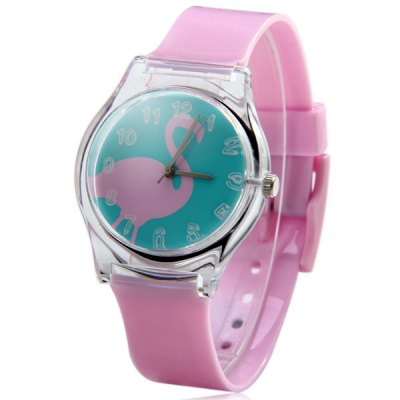 Ladies Quartz Watch Red - crowned Crane Shape Round Dial Plastic Wristband
