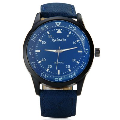 Kaladia 8915 Male Quartz Watch Three Scales Round Dial Leather Watchband