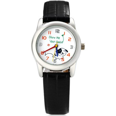 BF - 0213 Quartz Watch Cute Dog Pattern Round Dial Leather Band for ChildrenKids Watches<br>BF - 0213 Quartz Watch Cute Dog Pattern Round Dial Leather Band for Children<br><br>Watches categories: Children watch<br>Watch style: Fashion<br>Available Color: Black<br>Movement type: Quartz watch<br>Shape of the dial: Round<br>Display type: Pointer<br>Case material: Stainless steel<br>Band material: Leather<br>Clasp type: Pin buckle<br>The dial thickness: 0.8 cm / 0.3 inches<br>The dial diameter: 3.0 cm / 1.2 inches<br>The band width: 1.4 cm / 0.6 inches<br>Product weight: 0.026 kg<br>Product size (L x W x H) : 23.2 x 3.0 x 0.8 cm / 9.3 x 1.2 x 0.3 inches<br>Package contents: 1 x Watch