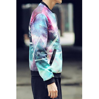 Гаджет   Stylish Stand Collar Loose Fit Triangle Starry Sky Printed Long Sleeve Polyester Jacket For Men Jackets & Coats