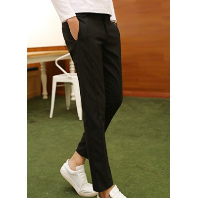 Гаджет   Simple Style Zipper Fly Slimming Solid Color Straight Leg Men