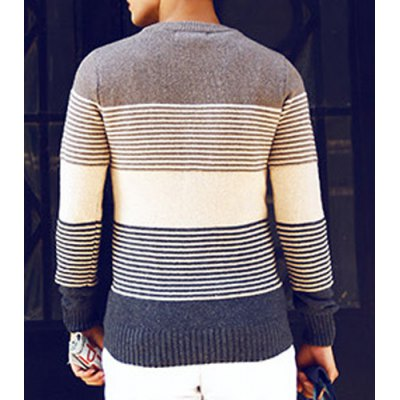 Гаджет   Stylish Round Neck Slimming Stripes Print Long Sleeves Men