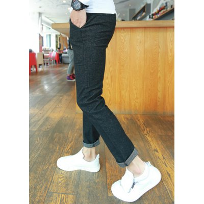 Гаджет   Slimming Trendy Solid Color Lace-Up Button Embellished Narrow Feet Men