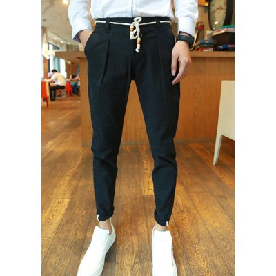 Гаджет   Casual Style Zipper Fly Solid Color Slimming Narrow Feet Men