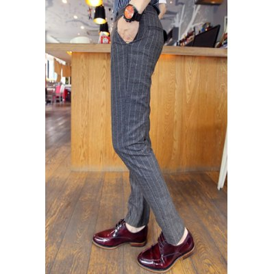 Гаджет   Casual Style Zipper Fly Slimming Stripes Print Leather Embellished Narrow Feet Men