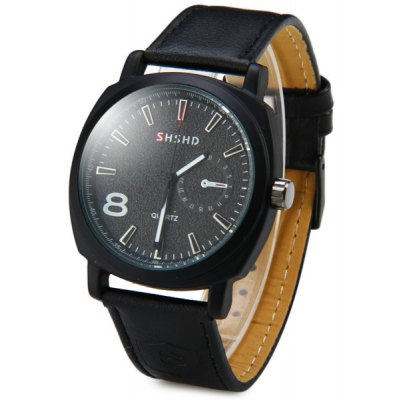 Shshd 3317 Male Quartz Watch Round Dial Genuine Leather Watchband Decorative Non - functining Sub - dial