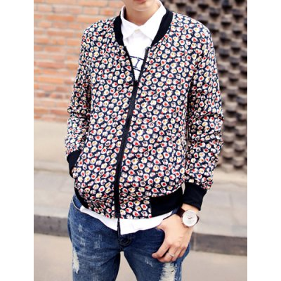 Гаджет   Casual Style Stand Collar Slimming Colorful Print Rib Splicing Long Sleeves Men