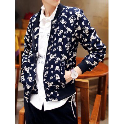 Гаджет   Casual Style Floral Print Slimming Stand Collar Long Sleeves Men