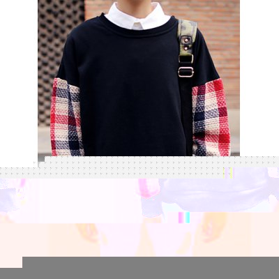 Гаджет   European Style Round Neck Hit Color Checked Splicing Slimming Long Sleeves Men