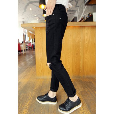 Гаджет   Simple Style Solid Color Slimming Zipper Fly Hole Embellished Narrow Feet Men