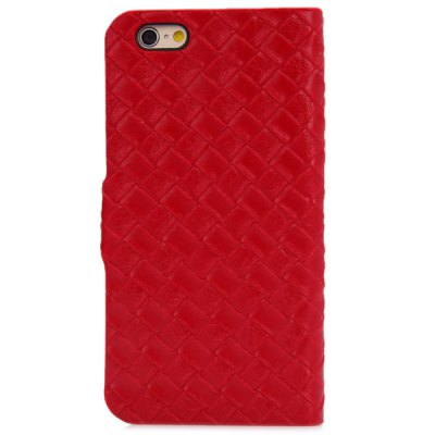 ФОТО Artificial Leather and Plastic Material Weave Rhombus Texture Design Stand Case Cover with Card Holder for iPhone 6  -  4.7 inches
