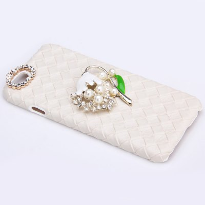 ФОТО Fashionable Plastic and Artificial Leather Material Back Cover Case with Flower Pattern and Diamond Design for iPhone 6  -  4.7 inches