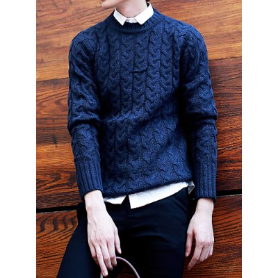 Гаджет   Trendy Round Neck Hemp Flowers Embellished Solid Color Slimming Long Sleeves Men