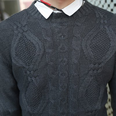 Гаджет   Fashion Style Slimming Knitting Print Embellished Round Neck Long Sleeves Men