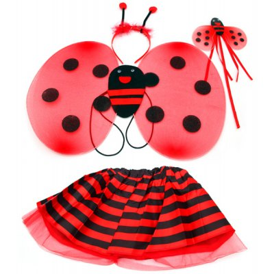 Halloween 4pcs Ladybird Style Skirt Set with Wing Headdress Wand for Children
