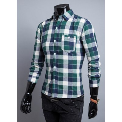 ФОТО Stylish Shirt Collar Slimming Colorful Checked Button Design Long Sleeve Polyester Shirt For Men