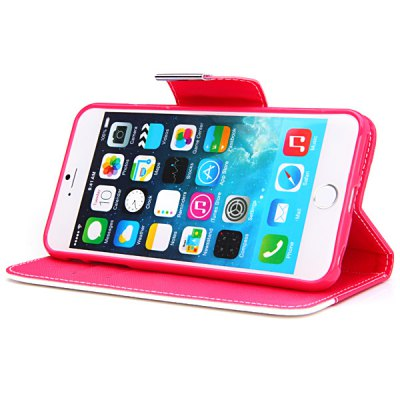 Фотография Artificial Leather and Silicone Material Contrast Color Design Stand Cover Case with Lanyard and Card Holder for iPhone 6 Plus  -  5.5 inches