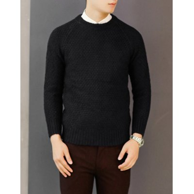 Гаджет   Simple Style Round Neck Solid Color Slimming Long Sleeves Men