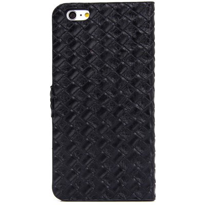 ФОТО Artificial Leather and Plastic Material Weave Rhombus Texture Design Stand Case Cover with Card Holder for iPhone 6 Plus  -  5.5 inches