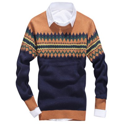 Гаджет   Stylish Round Neck Loose Fit Ethnic Argyle Jacquard Long Sleeve Woolen Blend Sweater For Men Sweaters & Cardigans