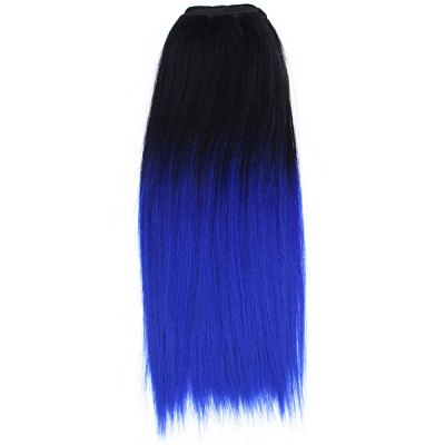 Modern Highlight Women Long Stright Hair Extension Wig  -  Black and Blue