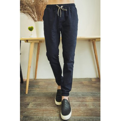 Гаджет   Casual Style Lace-Up Slimming Solid Color Elastic Cuffs Narrow Feet Men