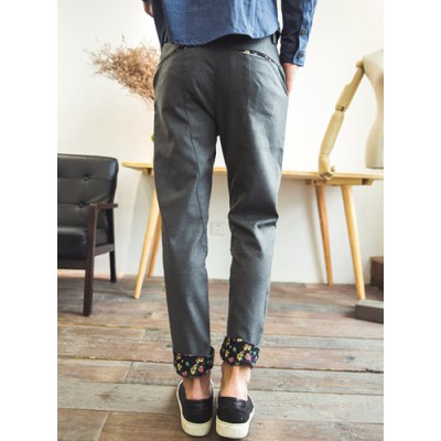 Гаджет   Casual Style Zipper Fly Slimming Colorful Floral Print Crimping Narrow Feet Men