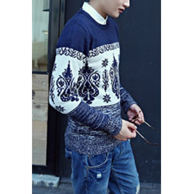Гаджет   Casual Style Long Sleeves Slimming Round Neck Abstract Print Color Splicing Men