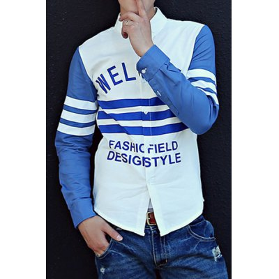 Гаджет   Casual Style Slimming Turn-down Collar Long Sleeves Letters Print Color Block Men