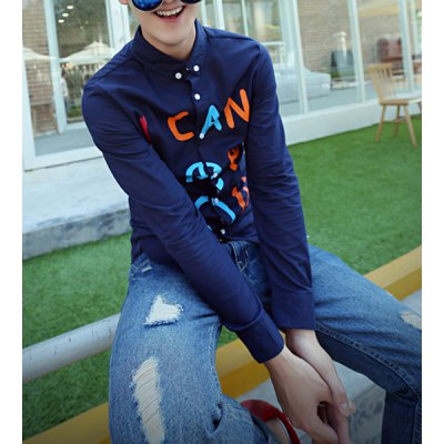Гаджет   Casual Style Slimming Turn-down Collar Long Sleeves Colorful Letters Print Men