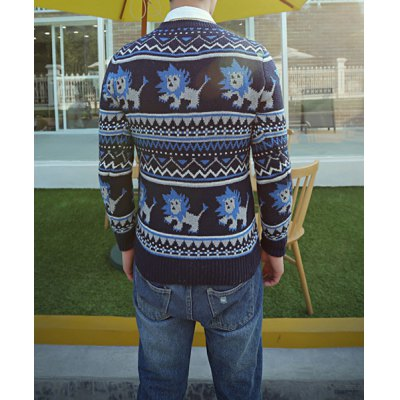 Гаджет   Casual Style Long Sleeves Slimming Round Neck Lion Print Men
