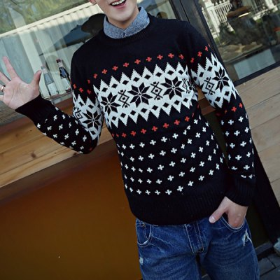 Гаджет   Casual Style Long Sleeves Slimming Round Neck Abstract Print Men