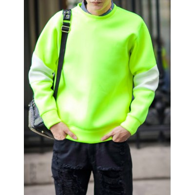 Гаджет   Euramerican Style Loose-Fitting Round Neck Long Sleeves Color Splicing Men