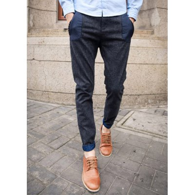 Гаджет   Stylish Narrow Feet Zipper Fly Slimming Color Block Pockets Men