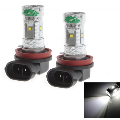 Zweihnder 2pcs H8 30W 2800lm White Light 6 CREE XP-D LEDs 12 - 24V Car Fog Light with Convex Glass