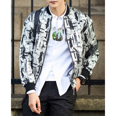 Гаджет   Casual Style Long Sleeves Stand Collar Slimming Abstract Print Zipper Design Men