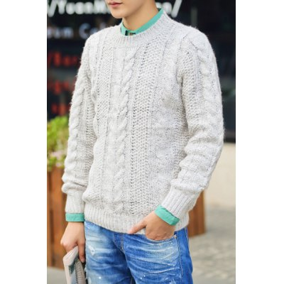 Гаджет   Casual Style Round Neck Long Sleeves Slimming Solid Color Twist Print Thicken Men