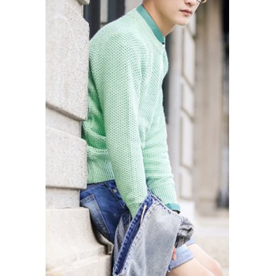 Гаджет   Casual Style Round Neck Long Sleeves Slimming Solid Color Fishing Net Knitting Thicken Men