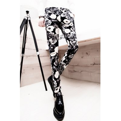Здесь можно купить   Slimming Trendy Zipper Fly Personality Floral Print Naroffer Feet Men