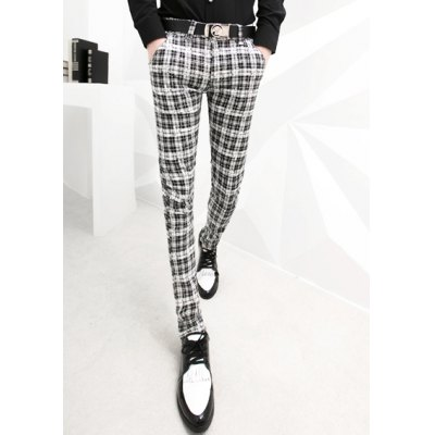 Casual Style Personality Checked Print Slimming Zipper Fly Narrow Feet Men's Cotton Pants