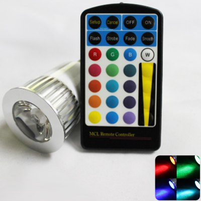 Zweihnder E27 5W 250Lm RGB Spot Light with Remote Controller