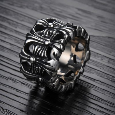 Chic Openwork Ring For MenMens Jewelry<br>Chic Openwork Ring For Men<br><br>Gender: For Men<br>Metal Type: Titanium<br>Style: Trendy<br>Shape/Pattern: Others<br>Metal Color: Antique Silver Plated<br>Weight: 0.055KG<br>Package Contents: 1 x Ring