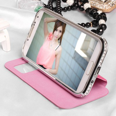 Гаджет   Cowhide and Zinc Alloy Material Cover Case with View Window and Stand for Samsung Galaxy S4 I9500 I9505 Samsung Cases/Covers