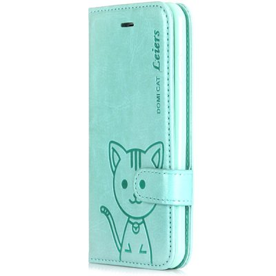Silicone and PU Material Domi Cate Pattern Stand Case Cover with Card Holder and Lanyard for iPhone 6  -  4.7 inches