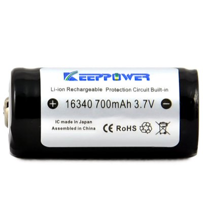 Гаджет   KeepPower Protected 700mAh 16340 Lithium Rechargeable Battery  -  3.7V Batteries